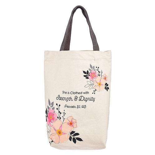 Strength & Dignity Tote Bag – Proverbs 31:25 TOT109