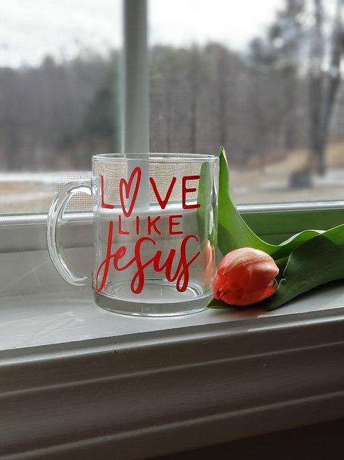 Love Like Jesus Handcrafted Glass Mug