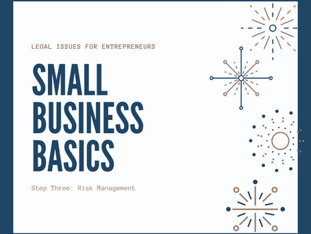 Small Business Basics: Dealing with Risks Using Policies, Insurance and Waivers