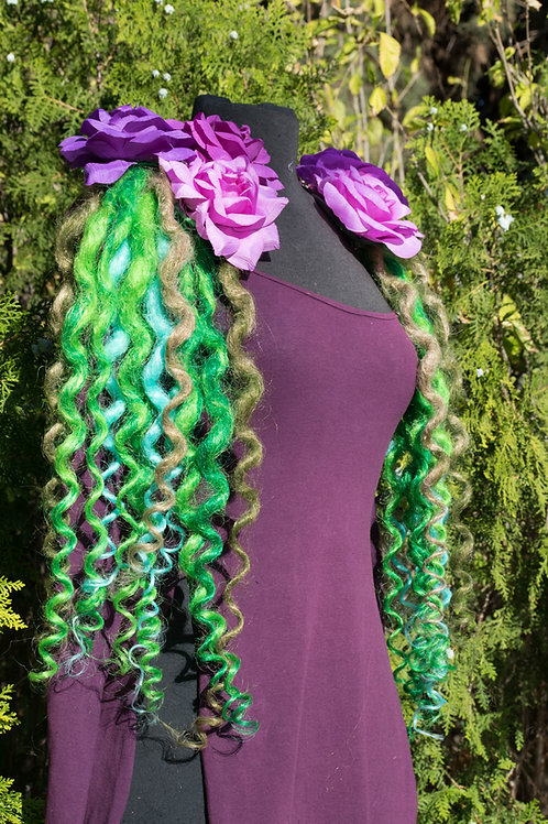 Diva Dreads Signature Super Curly Dreads in Mixed Greens and Teal