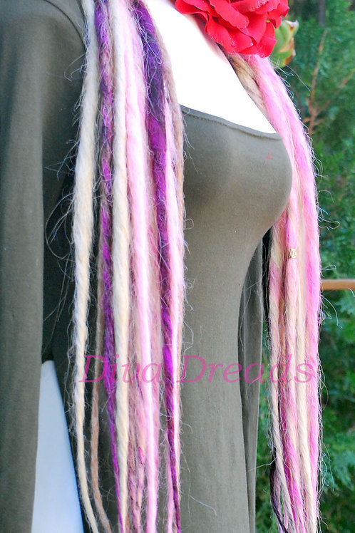 Diva Dreads Signature Dreads in Pinks and Blonde #613/27/Pink
