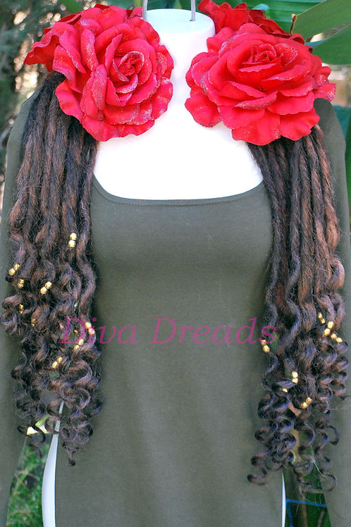 Diva Dreads Signature Super Curly Dreads in Deep Mixed Browns