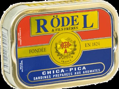 """Sardinen """"Chica Pica Gewürz"""" und Olivenöl 115g Rödel"""