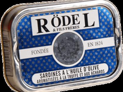 """Sardinen """"Trüffel / Gurken"""" und Olivenöl 115g Rödel"""