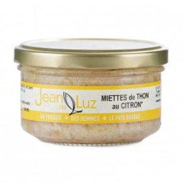 """Weisser Thunfisch Stückchen in Glas """"Germon mit Zitrone"""" mit Olivenöl 140g Jeand"""
