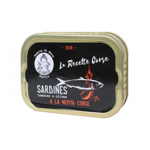Sardinen mit korsische Minze, Oliven und Tomate