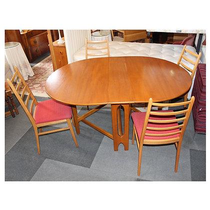 Teak Drop Leaf Table & Four Chairs Ref:468