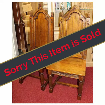 Pair of Oak Gothic Style Chairs Ref: A448