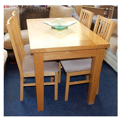 Light Oak Dining Table & Four Chairs Ref: 362
