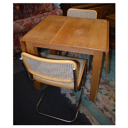 Drop Leaf Oak Table & Two Chairs Ref: 438
