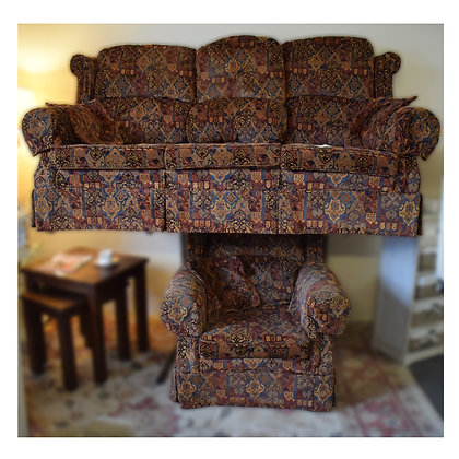Patterned Three Seater Sofa & Chair Ref: 273