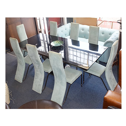 Solid Black Marble Effect Table & 8 Chairs (Ref: 684)