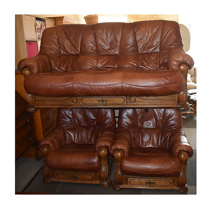 Brown Leather Three Piece Suite (Ref: 732)