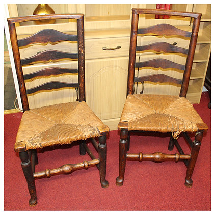 x2 Antique Rush Seated LadderbackChairs Ref: A455