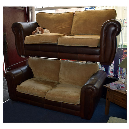 Brown Leather & Fabric Seats Settees Ref: 395