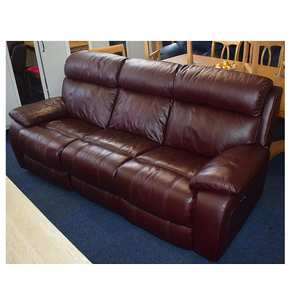 Burgundy Leather Three Seater Electric Recliner (Ref: 767)