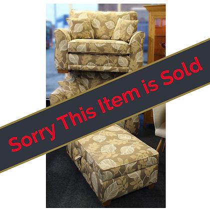 Fabric Settees & Footstool Ref: 528