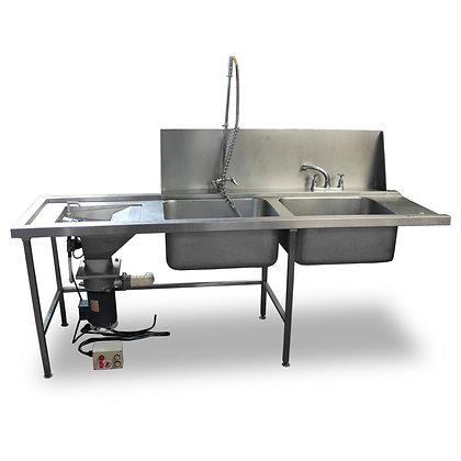 2.3m Double Dishwasher Sink & Waste Disposal (SS517)