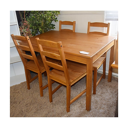 Pinewood Table & 4x Chair Set (Ref: 704)