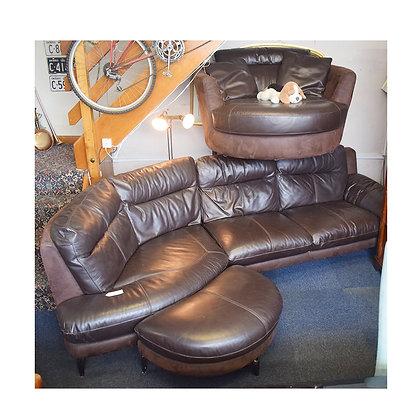 Brown Leather Corner Sofa & Swivel Chair (Ref: 679)