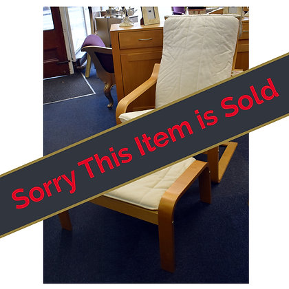 White Arm Chair & Foot Stool Ref: 418