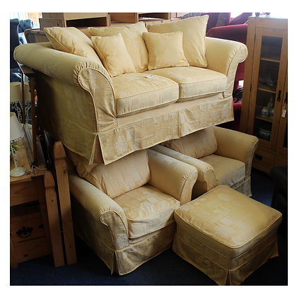 Yellow Three Piece Suite & Pouffe Ref: 295