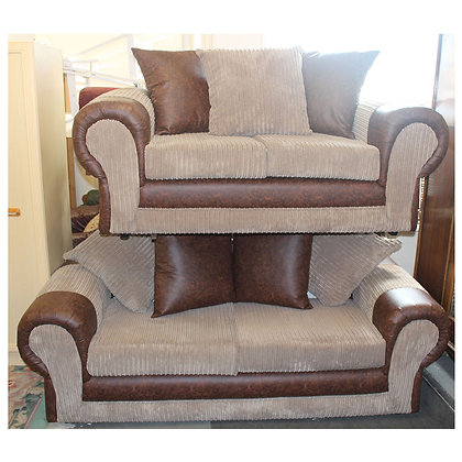 Three and  Two Seater Brown Fabric Settees Ref: 352