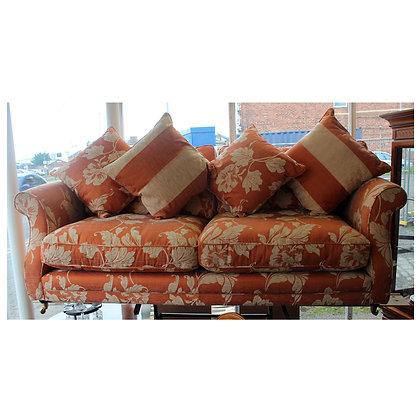 Terracotta Floral Fabric Settee & Footstool Ref: 316