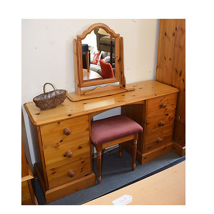 Pine Dressing Table With Stool & Mirror (Ref: 757)