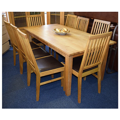 Oak Dining Table & Eight Chairs Ref: 417