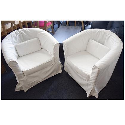 White Fabric Tub Chairs Set (Ref: 779)