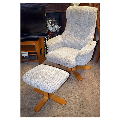 Grey Fabric Arm Chair & Foot Stool Ref: 512