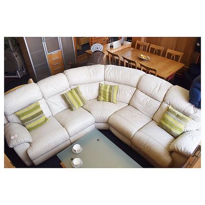 White Leather Corner Sofa (Ref: 594)