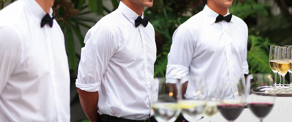 Waiters serving wine at a luxurious gath