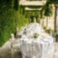 Tables decorated for a party or wedding