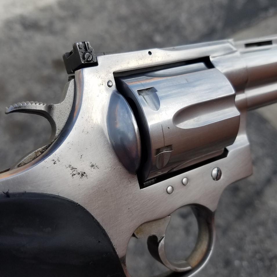 BEFORE: Stainless Colt Anaconda Pitting