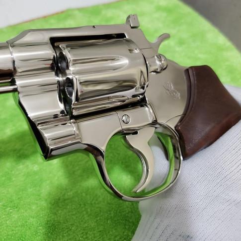 AFTER: Bright Nickel Plated Colt .357 Revolver