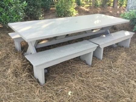 X Base Cedar Table w/ Benches