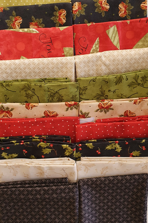 Mystery quilt kit  festive, black/red/green