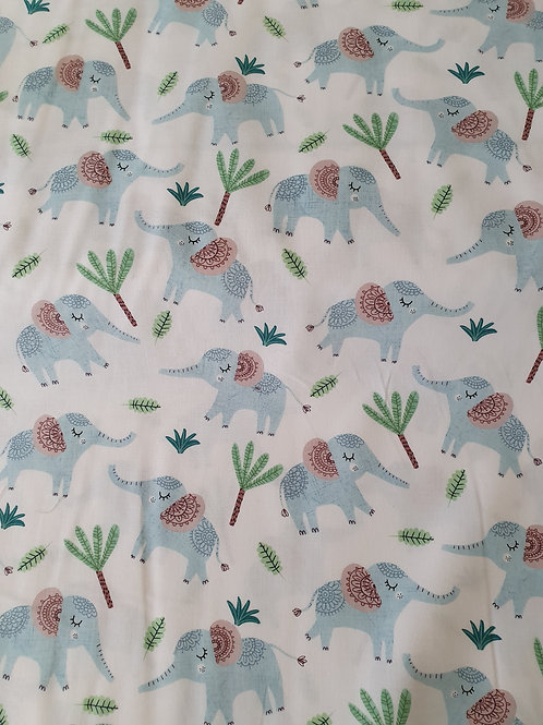 Jungle  fever blue elephants on white fabric