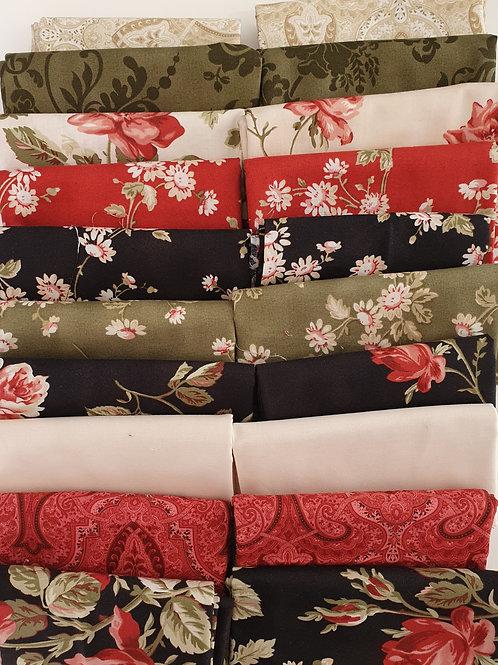 Mystery quilt kit red/black roses