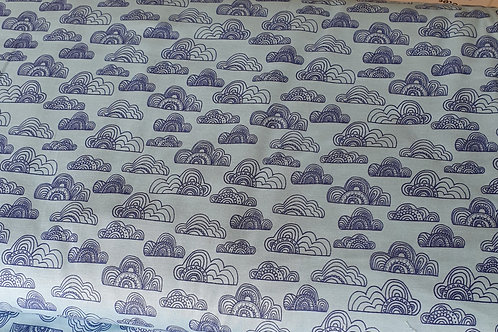 Jungle fever fabric blue clouds