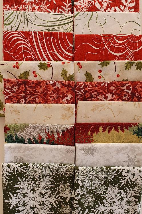 Mystery quilt  kit  festive,  green/red