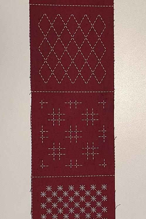 7 sashiko patterns burgandy