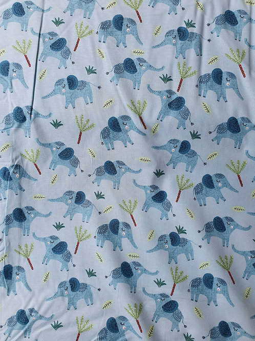 Jungle fever fabric blue elephants
