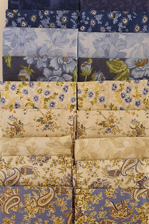 Mystery quilt kit blue paisley