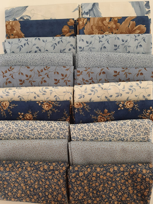 Mystery quilt kit blue/brown