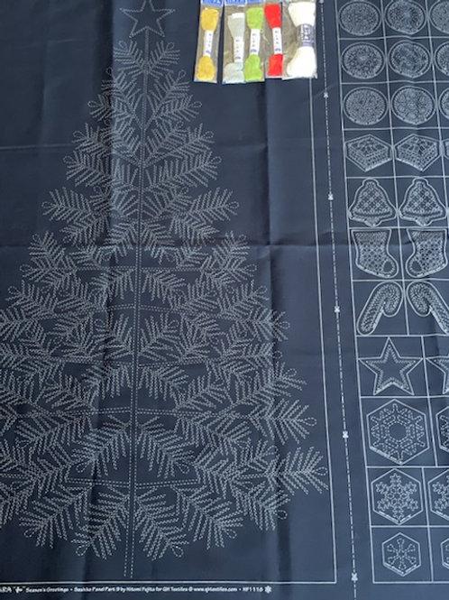 Sashiko Christmas panel and threads