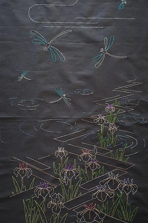 Sashiko panel iris and butterfly