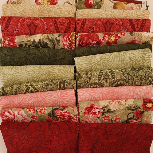 Mystery quilt kit green/red/cream roses
